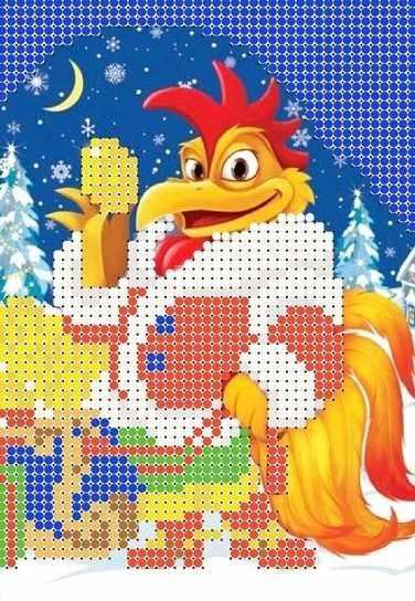 КМЧ-5341 Новогодний  петух - схема для вышивания (Мастерица)