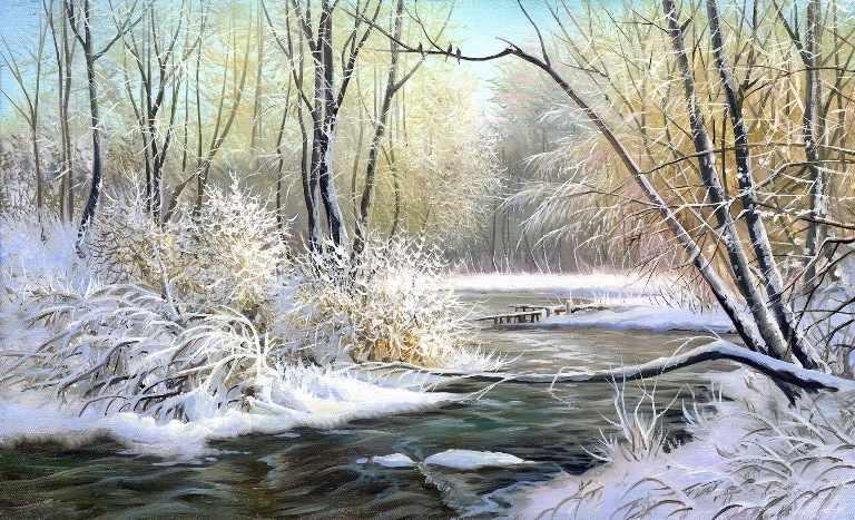 4228 Зимняя река - схема для вышивания (Матрёнин посад)