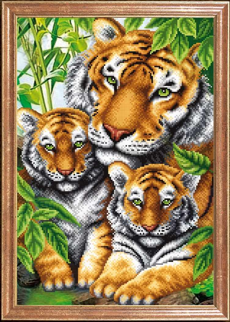 КС-097 Тигрица с тигрятами - схема для вышивания (Магия канвы)