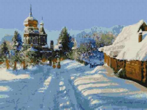 Алмазная вышивка 50171 Зима в деревне - мозаика Anya
