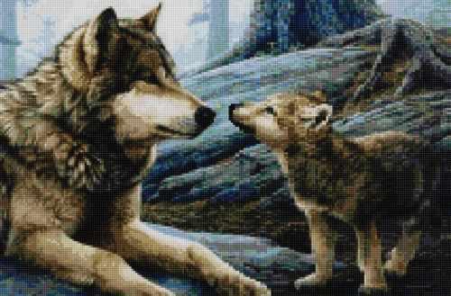 50179 Волчица с волченком - мозаика Anya
