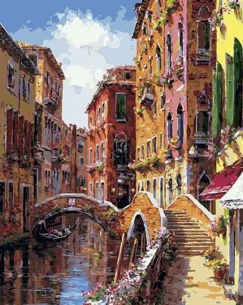 257-AB Мосты и каналы Венеции - раскраска (Белоснежка)