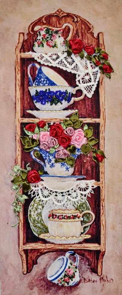 048-100 Полочка с розами (РЛ)
