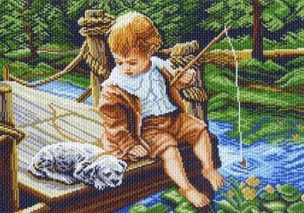 854 С другом на рыбалке - рисунок на канве (МП)