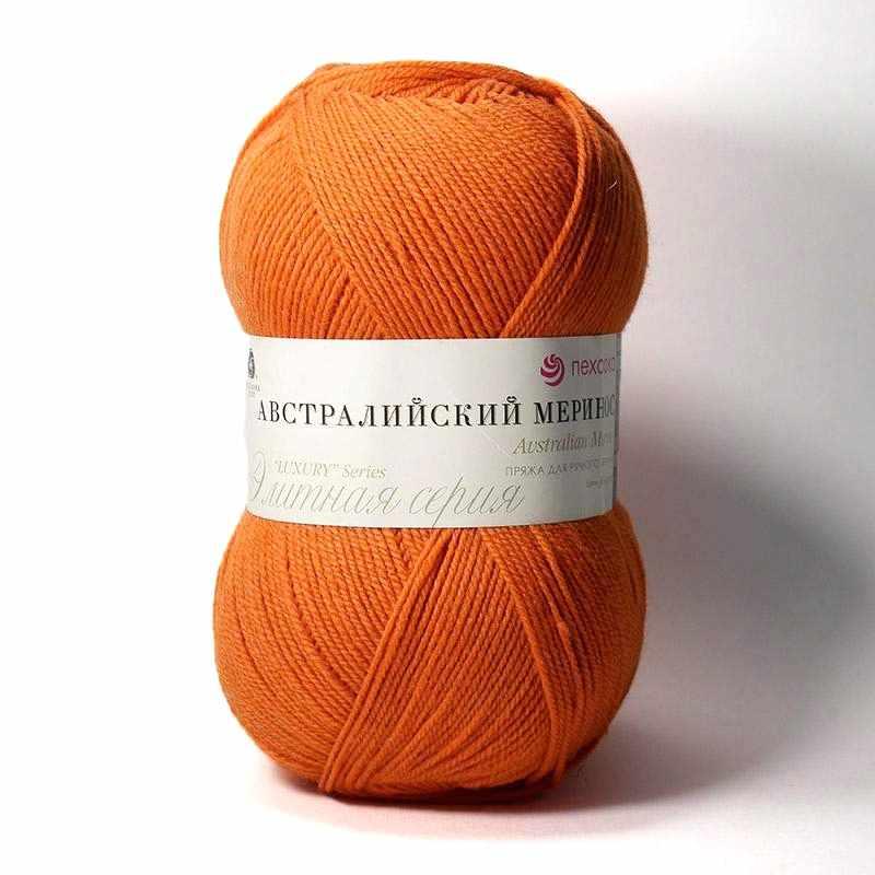 Пряжа Пехорка Австралийский меринос Цвет.189 Ярко - оранжевый