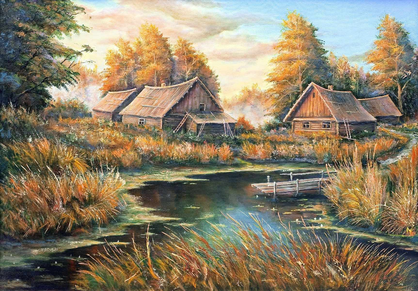 1872/Н Осень в деревне - набор для вышивания