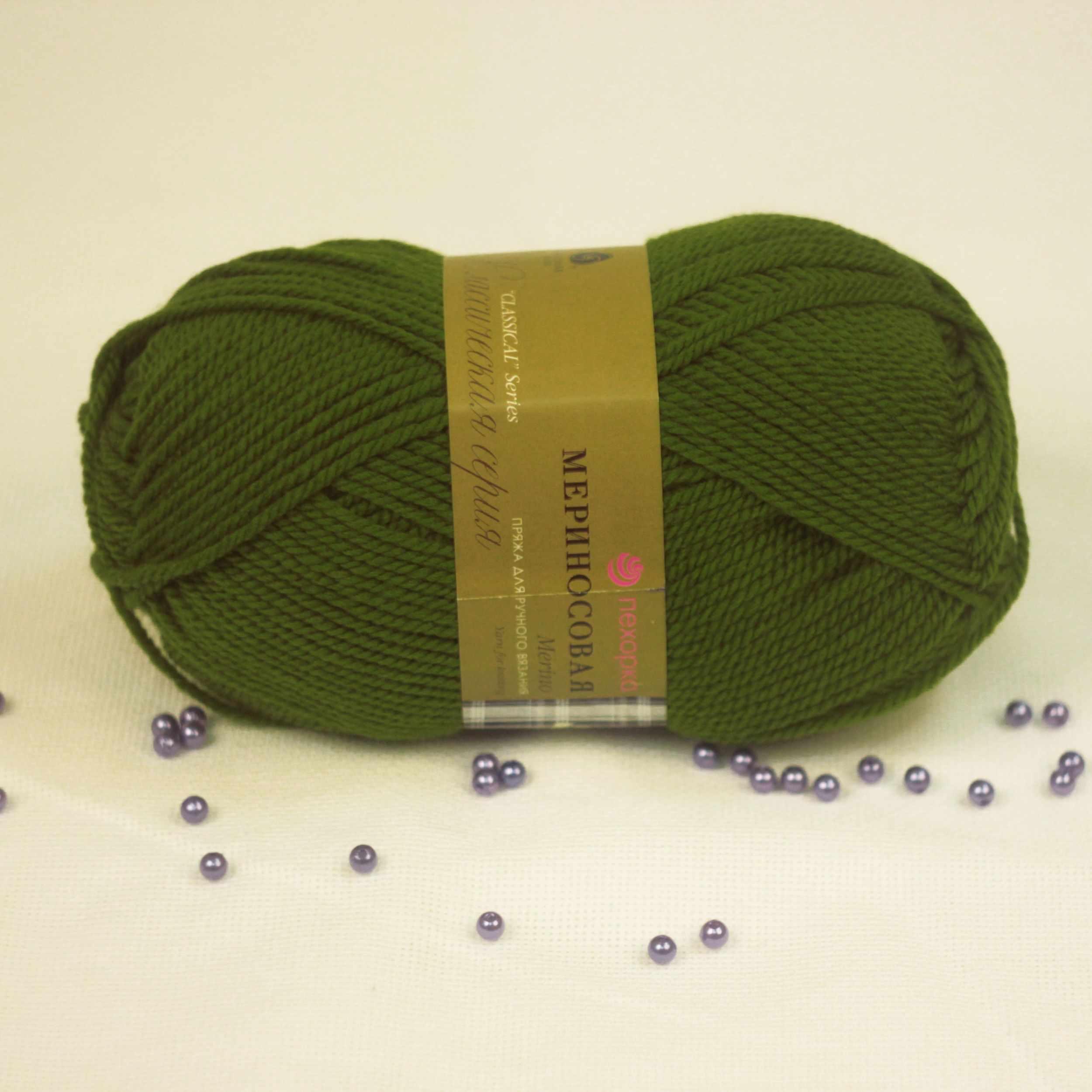 Пряжа Пехорка Мериносовая Цвет.252-Зеленый горошек