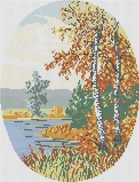 Алмазная вышивка 077-ST Осенний лес (Белоснежка)