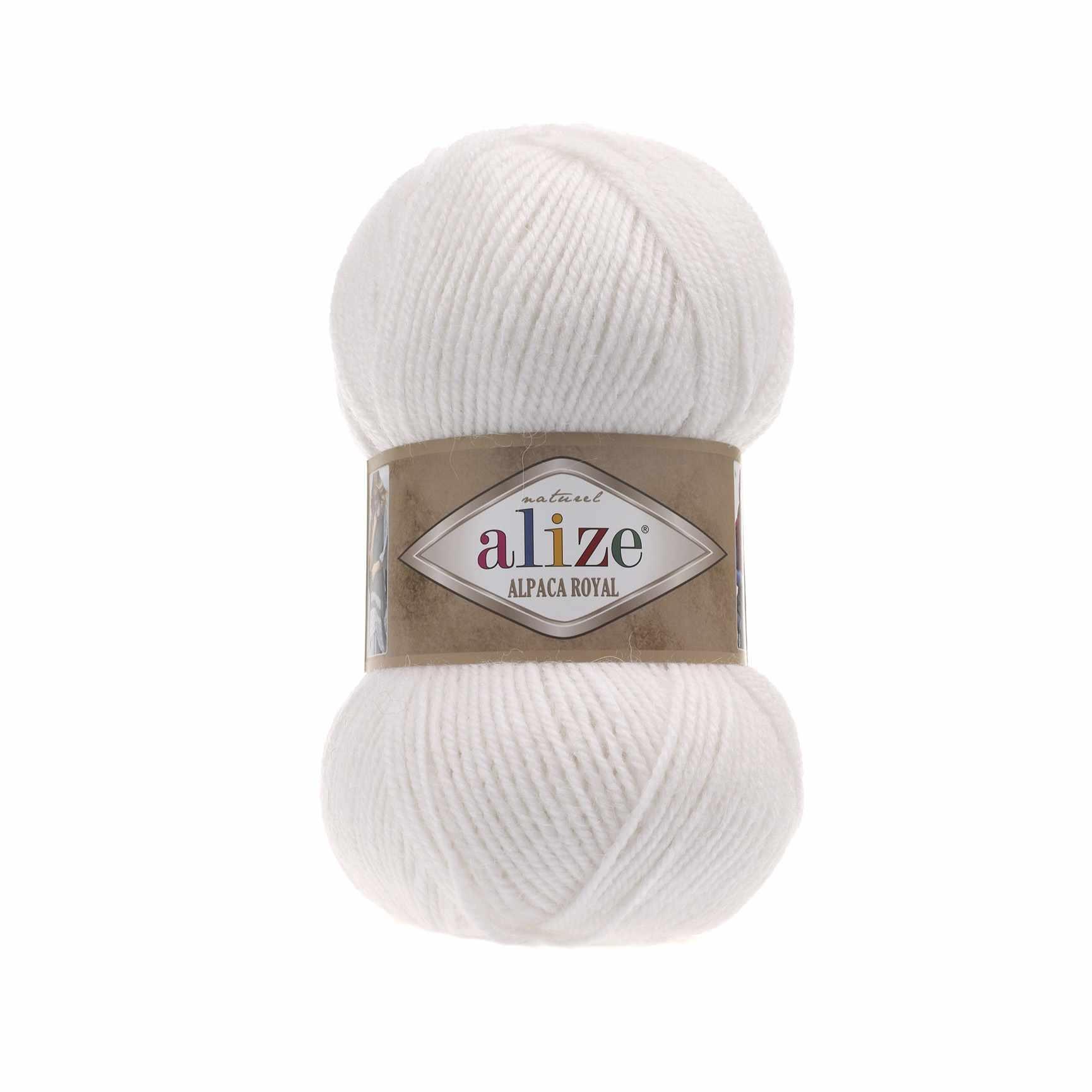 Пряжа Alize Alpaca Royal Цвет.55 Белый