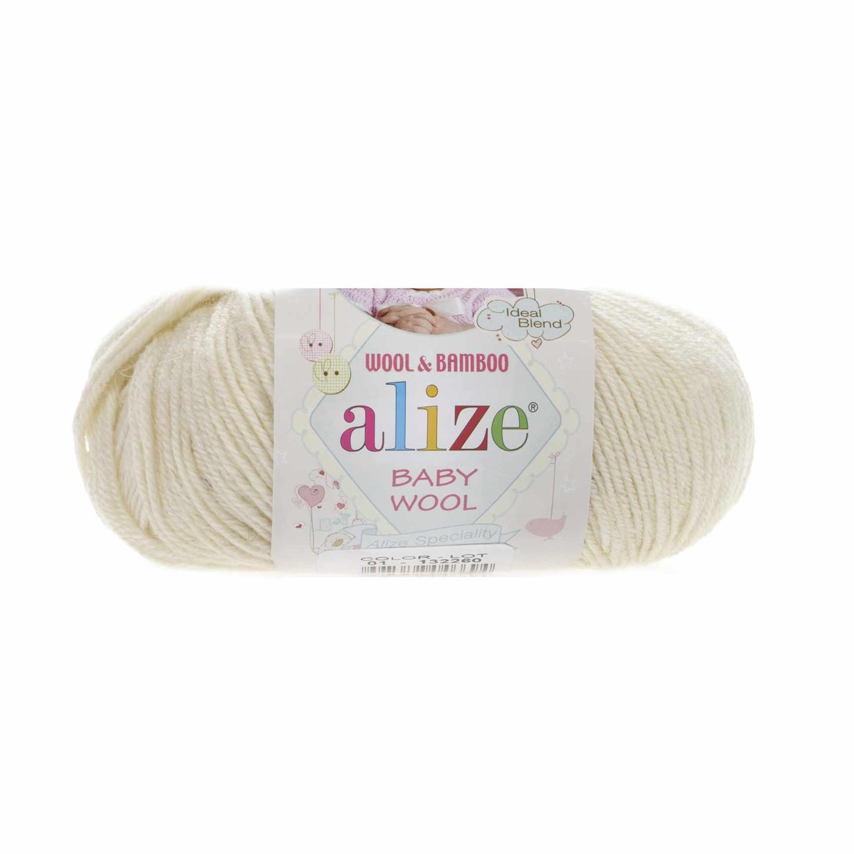 Пряжа Alize Baby Wool Цвет.1 Кремовый