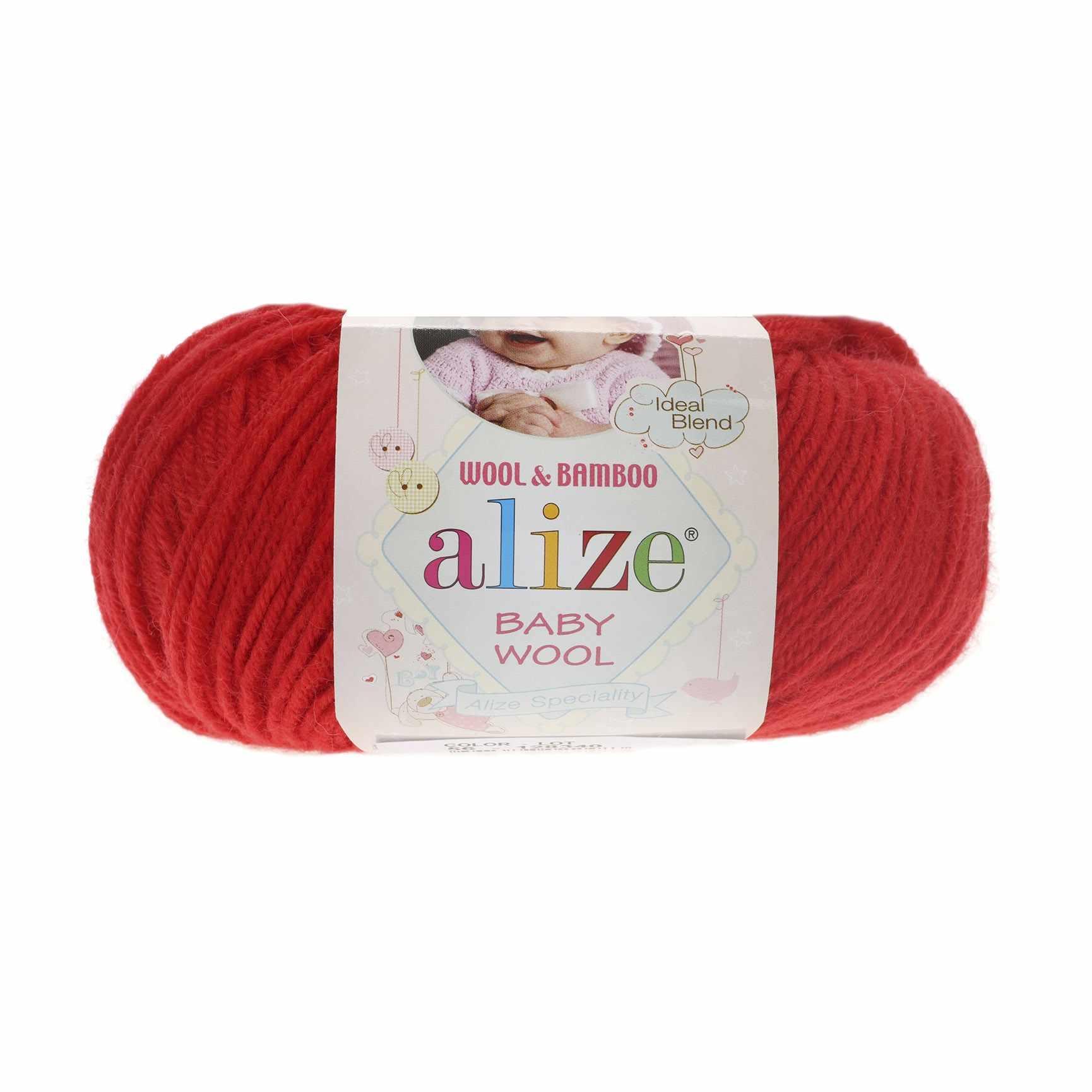 Пряжа Alize Baby Wool Цвет.56 Красный