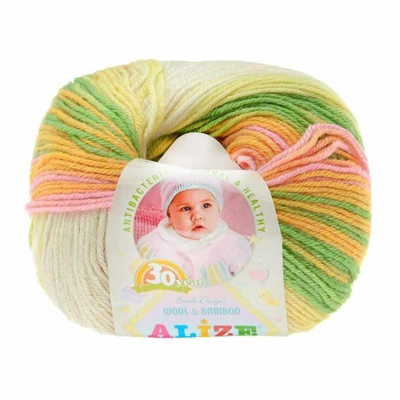 Пряжа Alize Baby Wool Batik Цвет.4390 Желт.роз.бел.св.сал