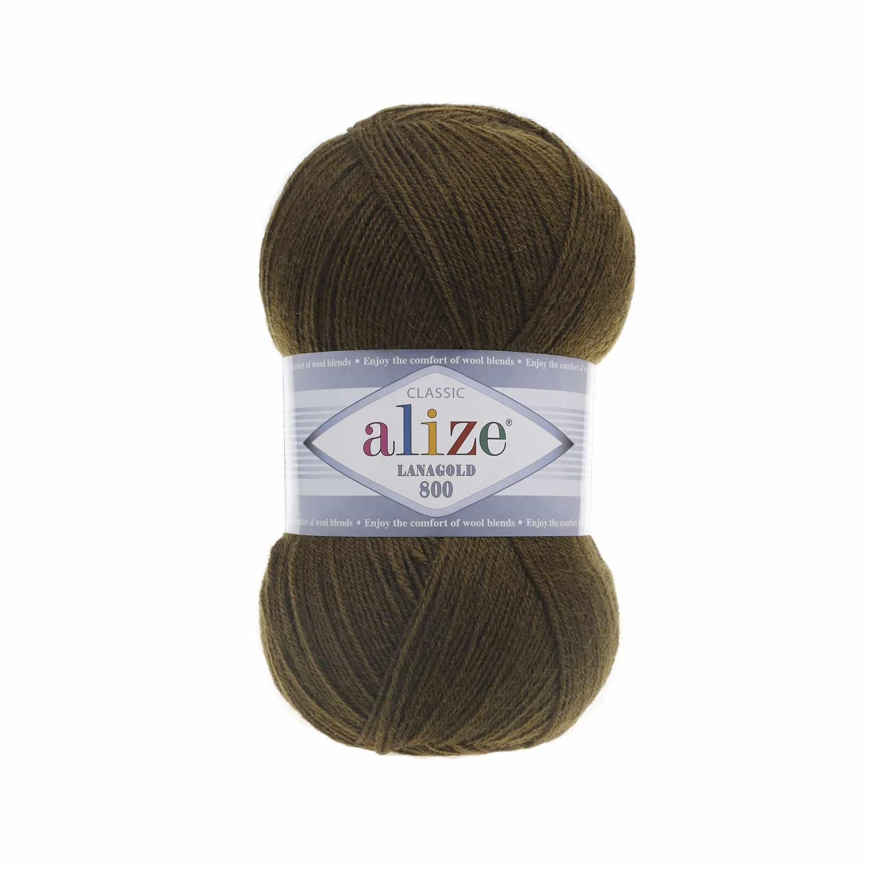 Пряжа Alize Lana Gold 800 Цвет.214 Оливково-зеленый