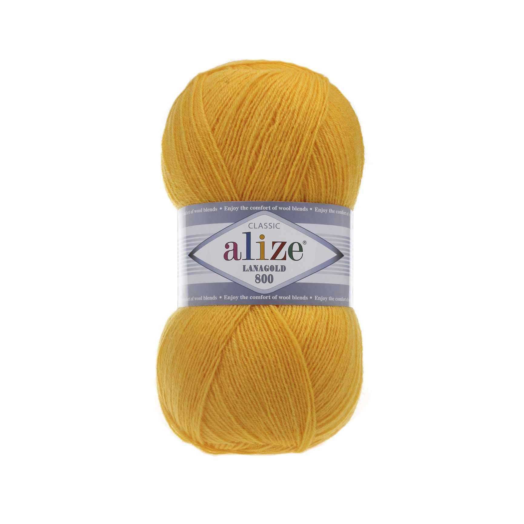 Пряжа Alize Lana Gold 800 Цвет.216 Желтый