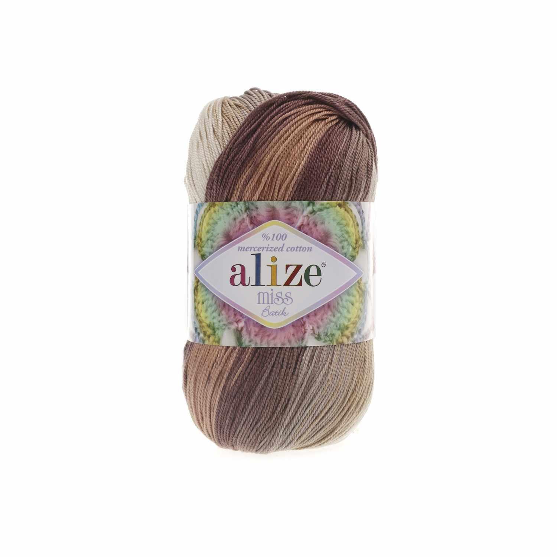 Пряжа Alize Miss Batik Цвет.3723 Коричневый,серый,белый