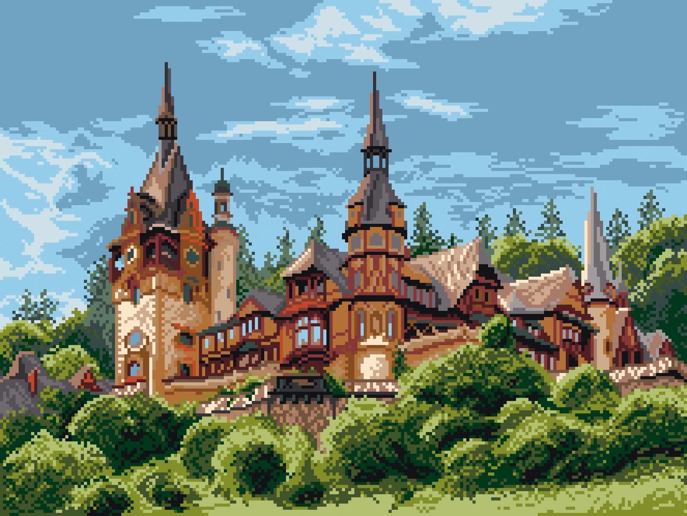 1899 Замок в Румынии  - рисунок на канве (МП)