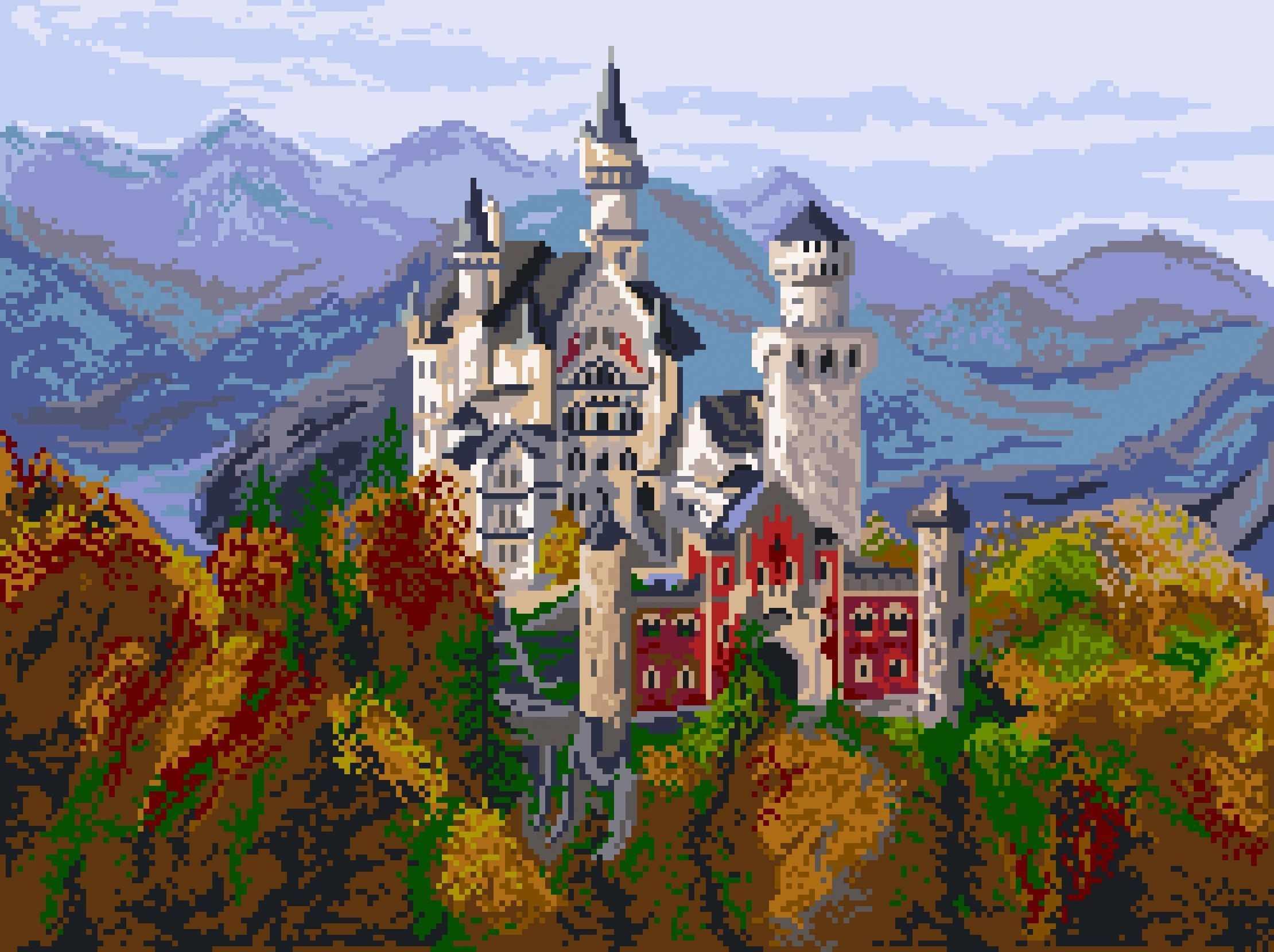 1898 Замок в Баварии - рисунок на канве (МП)