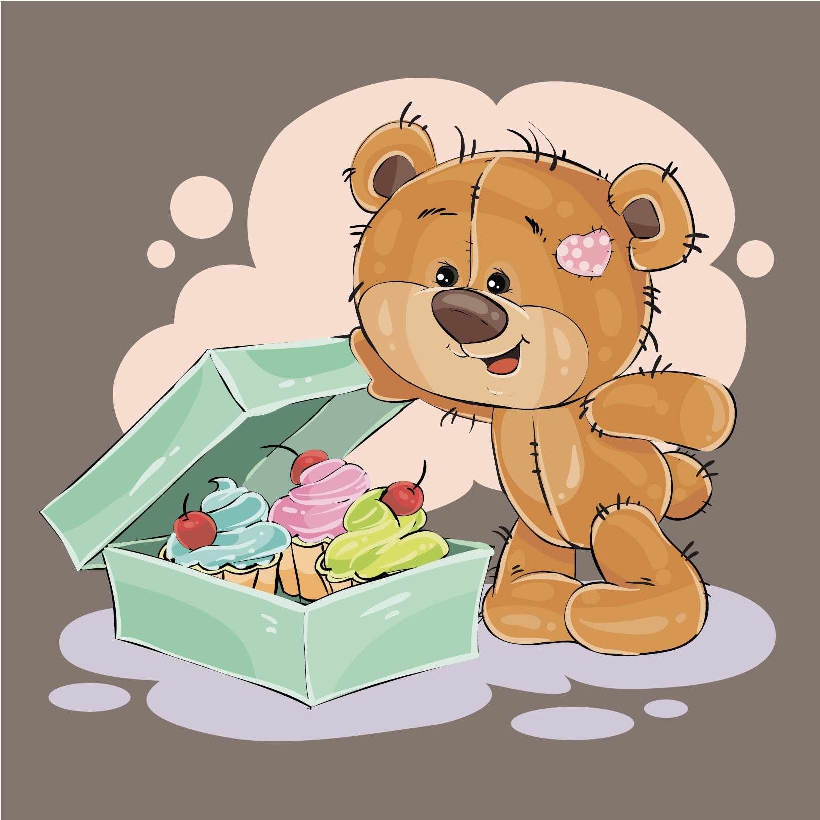 Картинки мишки рисованные с подарками