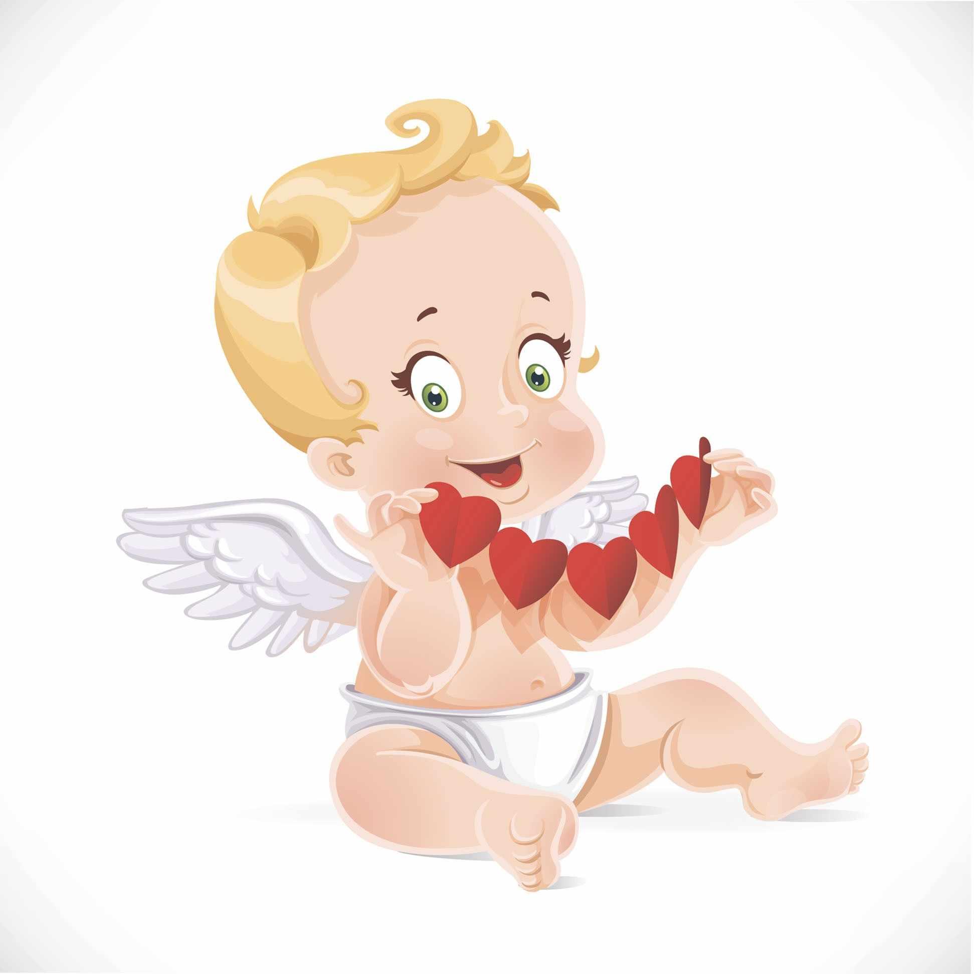 П17 Ангел с гирляндой сердечек