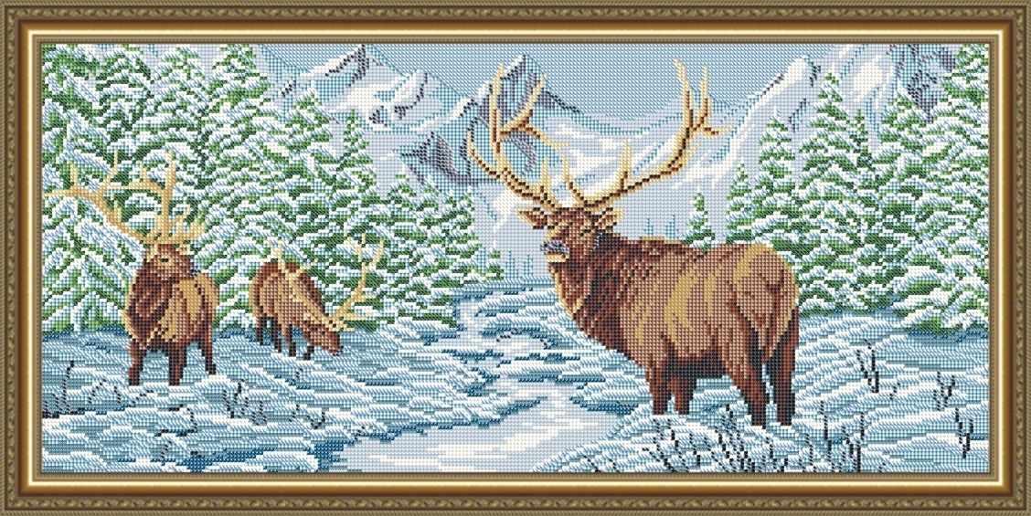 """VKA3101 """"Олени в зимнем лесу"""" - схема для вышивания (Art Solo)"""