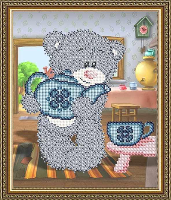 """VKA4411 """"Мишка с чайником"""" - схема для вышивания (Art Solo)"""