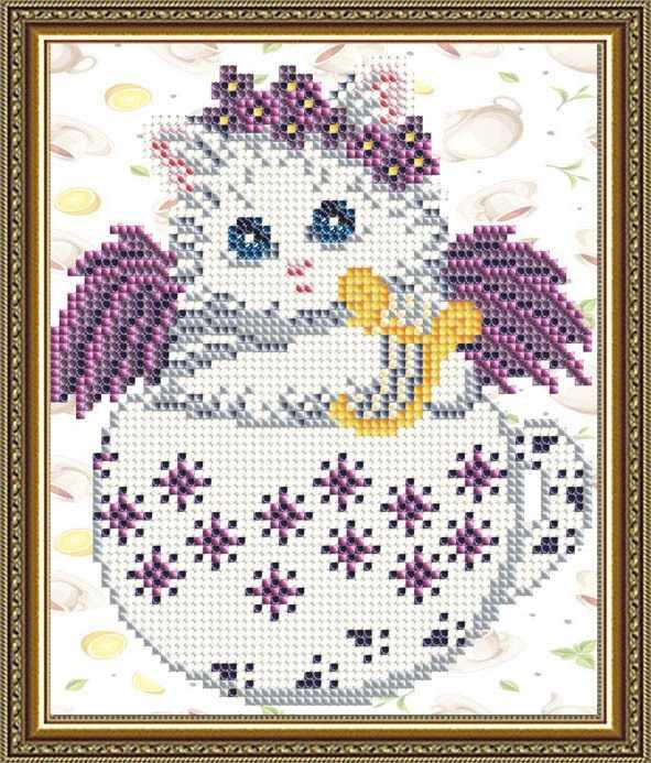 """VKA5026 """"Котенок в цветочках"""" - схема для вышивания (Art Solo)"""