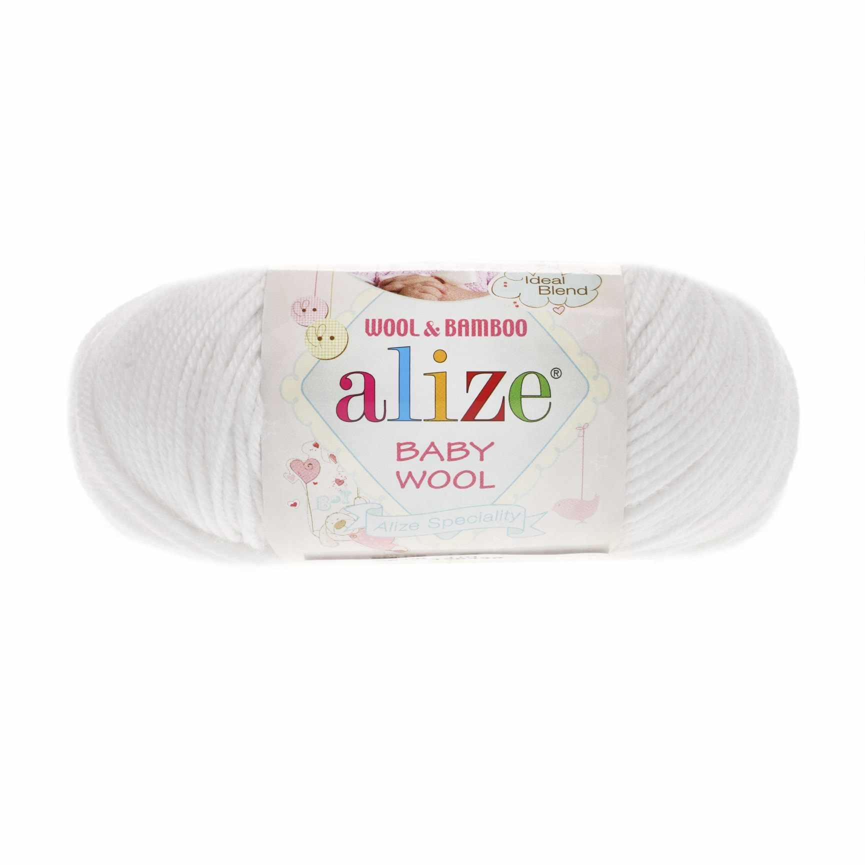 Пряжа Alize Baby Wool Цвет.55 Белый