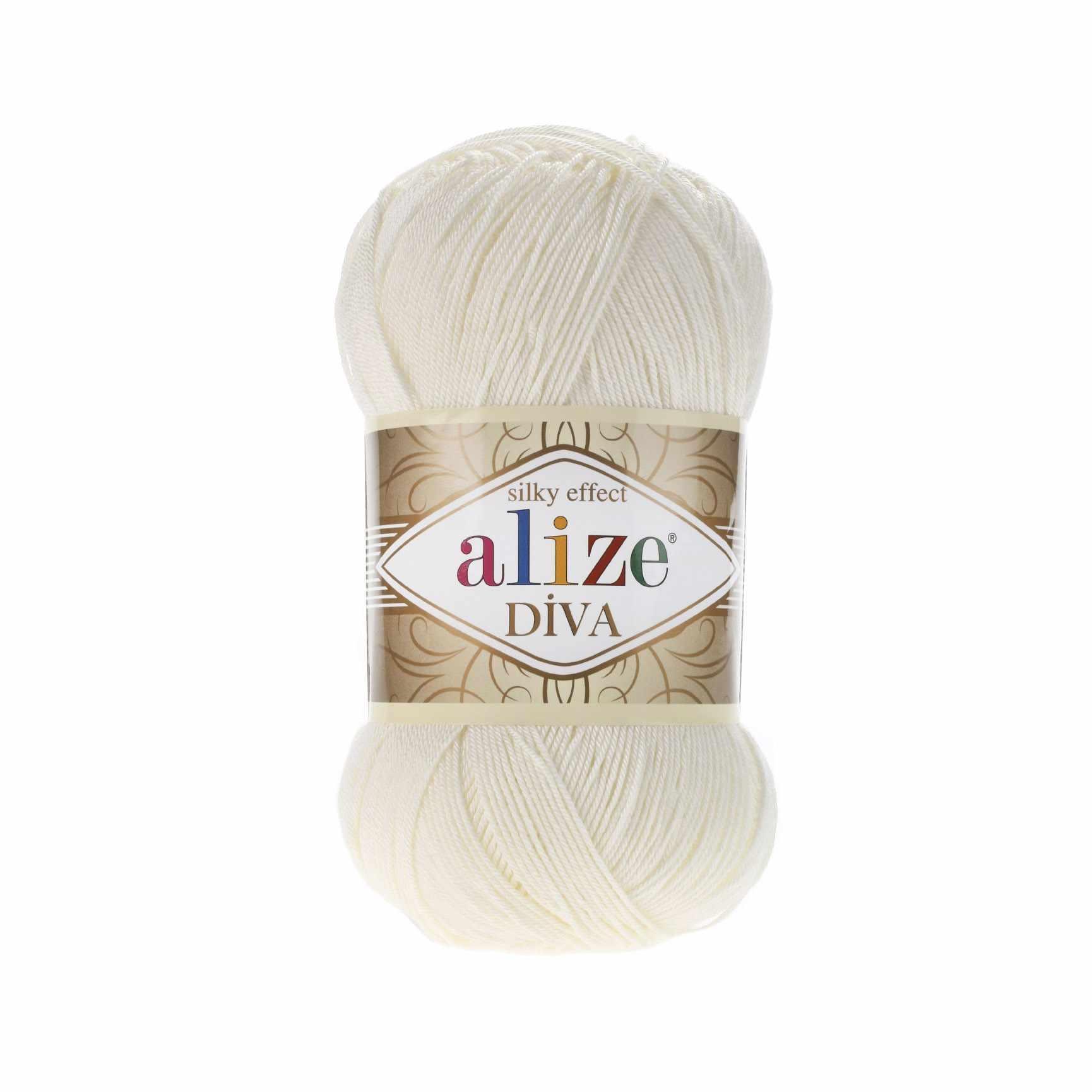 Пряжа Alize Diva Цвет.62 Св.молочный