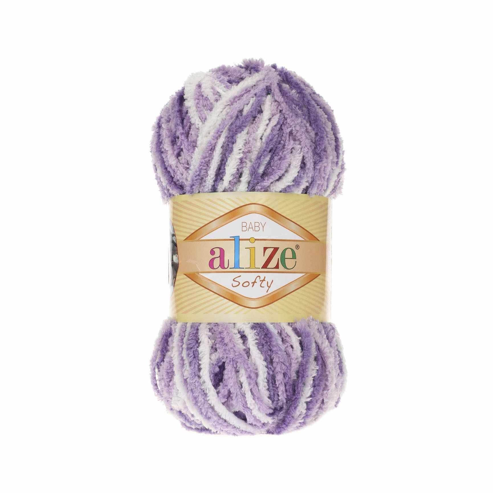 Пряжа Alize Softy Цвет.51627 Бело-сиреневый