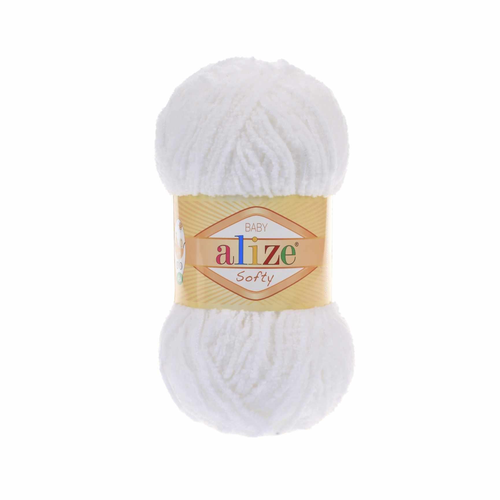 Пряжа Alize Softy Цвет.55 Белый