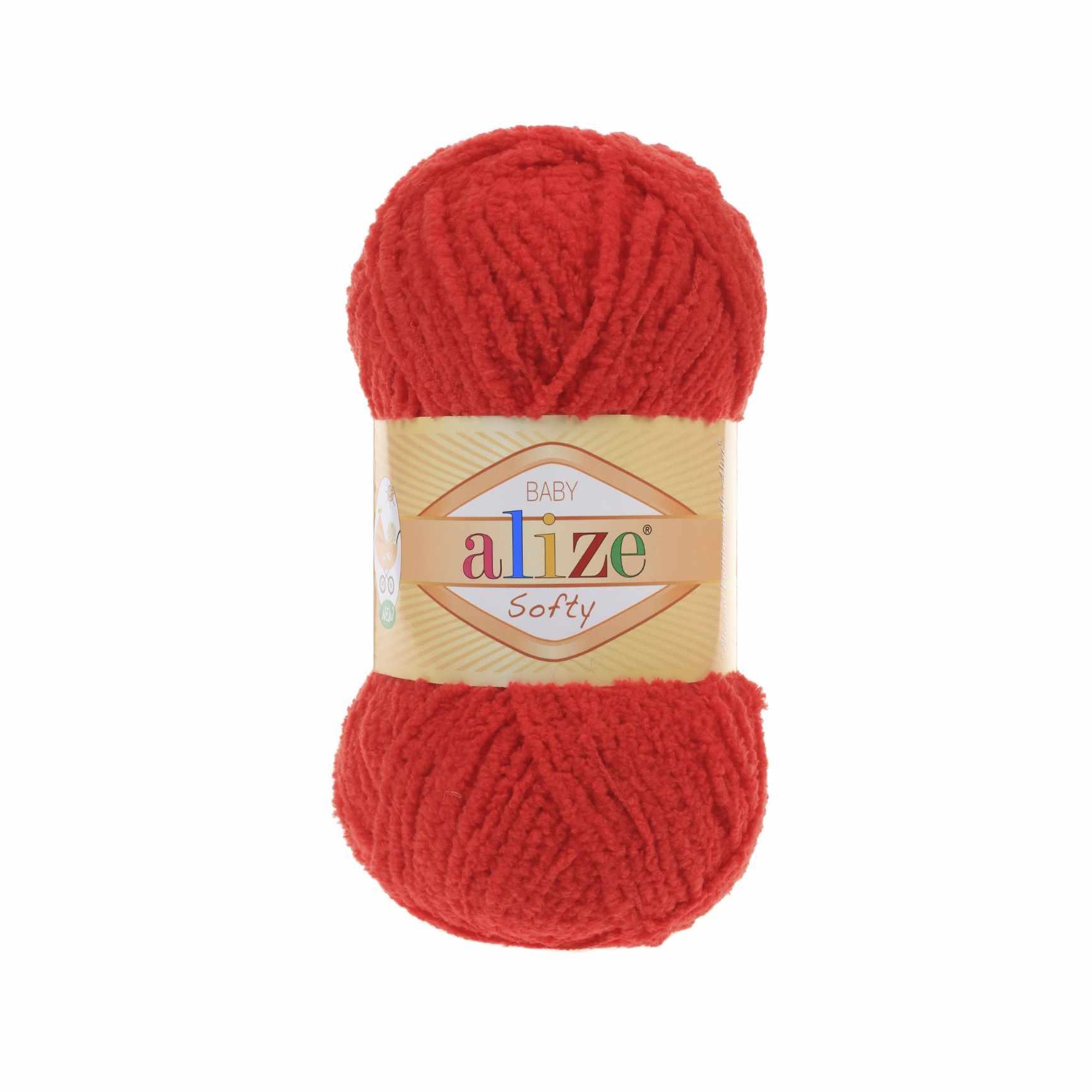 Пряжа Alize Softy Цвет.56 Красный