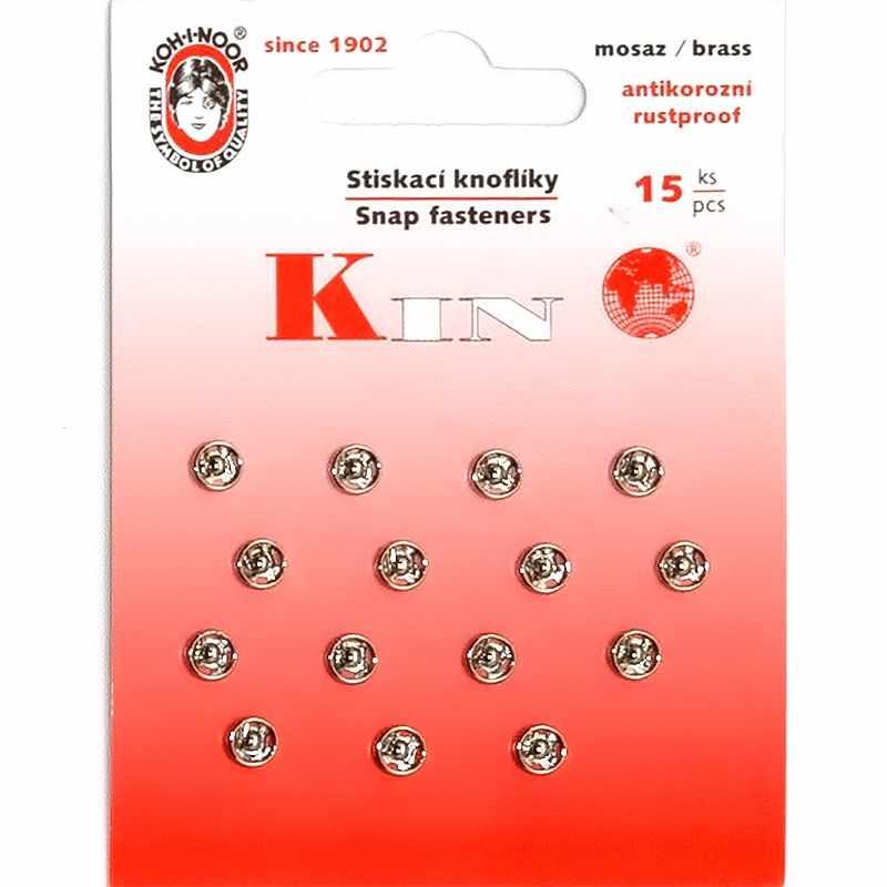 """KIN1000 №2/0 Кнопки пришивные 10 металл """"KOH-I-NOOR"""" d 5 мм,никель"""