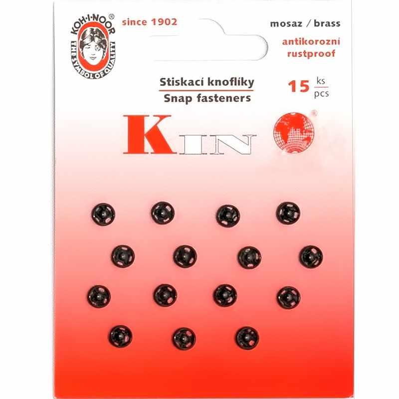 """KIN1000 №2/0 Кнопки пришивные 10 металл """"KOH-I-NOOR"""" d 5 мм,черный"""
