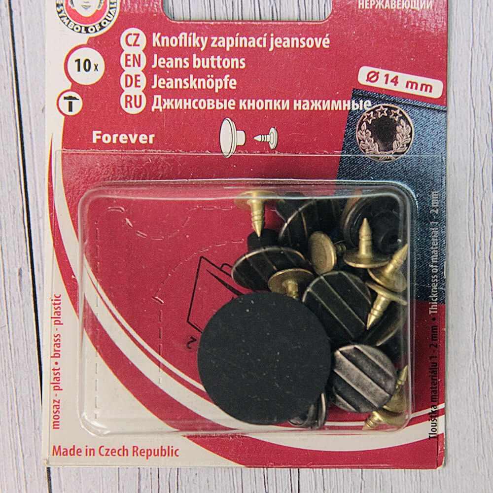 """№5 2051 Пуговицы """"KOH-I-NOOR"""" 26 джинсовые 22 """" 14 мм, 335 черн.никель """"линии"""", 10 шт"""