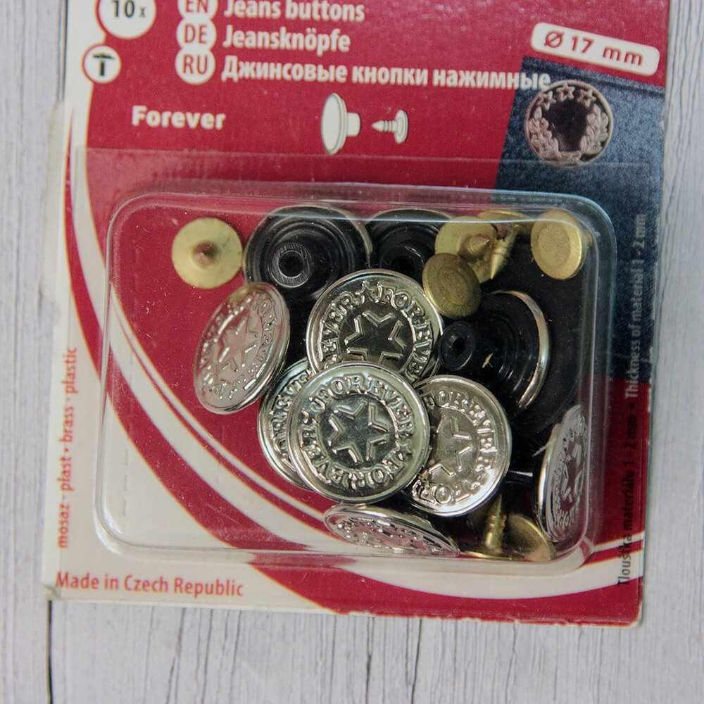 """Пуговицы """"KOH-I-NOOR"""" 26 (№7 2051) джинсовые никель 27 """" 17 мм, 301 никель """"Forever"""""""