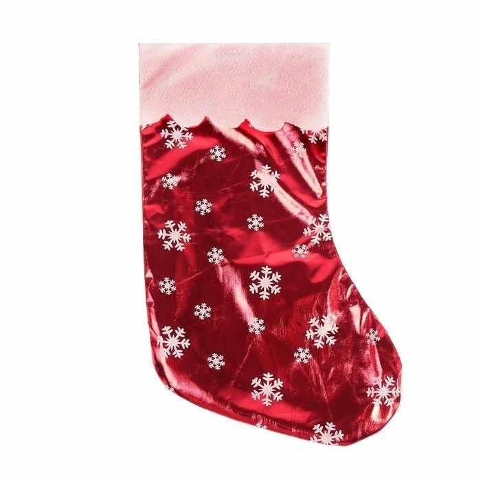 """2363895 Носок для подарков """"Мерцание"""" красный со снежинками"""