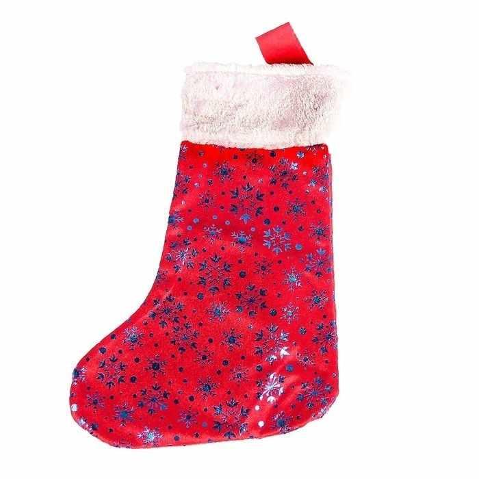 """2363896 Носок для подарков """"Красный с синими снежинками"""""""