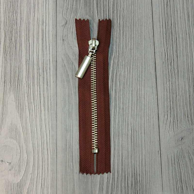 GM-851 Молния металл 12 см никель, однозамковые, цвет коричневый №278
