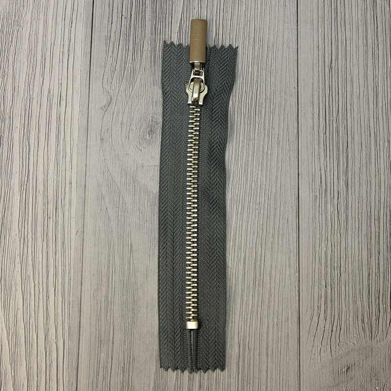 GM-851 Молния металл 12 см никель, однозамковые, цвет серый №304