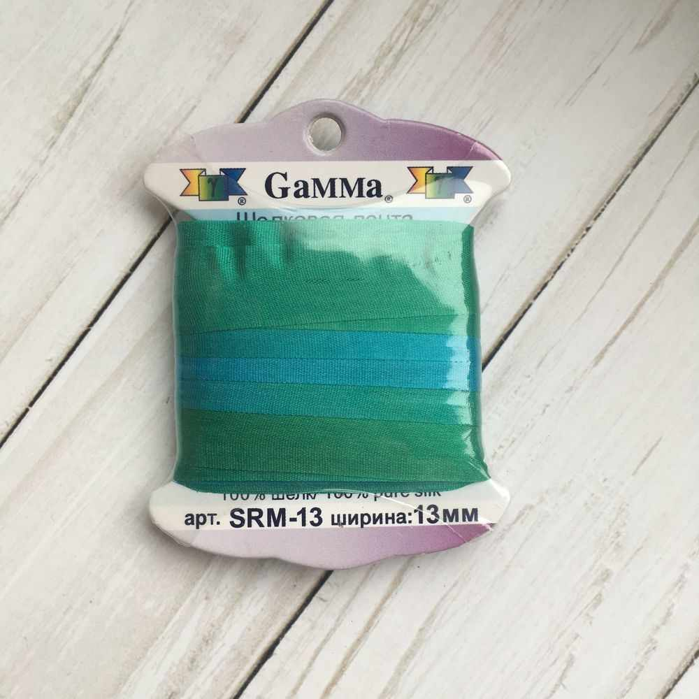 """SRM-13 Лента декоративная """"Gamma"""" шелковая M110 бирюзовый/зеленый"""