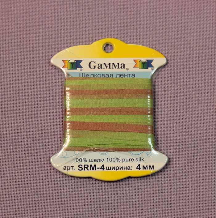 """SRM-4 4 мм Лента декоративная """"Gamma"""" шелковая M123 фисташковый/св.коричневый"""