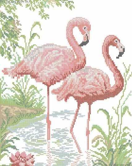 КАЮ4040 Розовый фламинго - схема для вышивания (Матрёшкина)