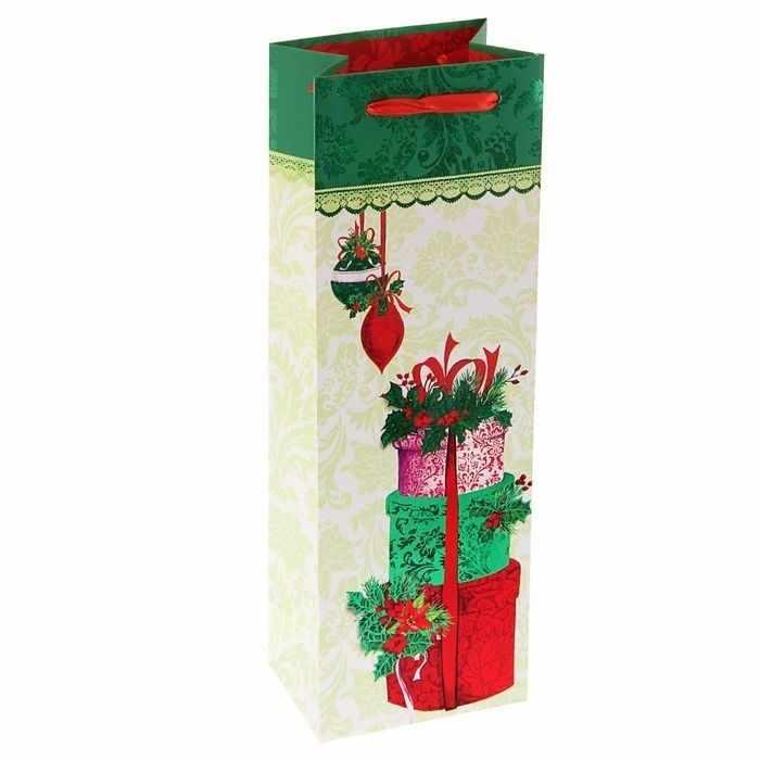 """1606279 Пакет подарочный под бутылку """"Рождественские подарки"""" люкс"""