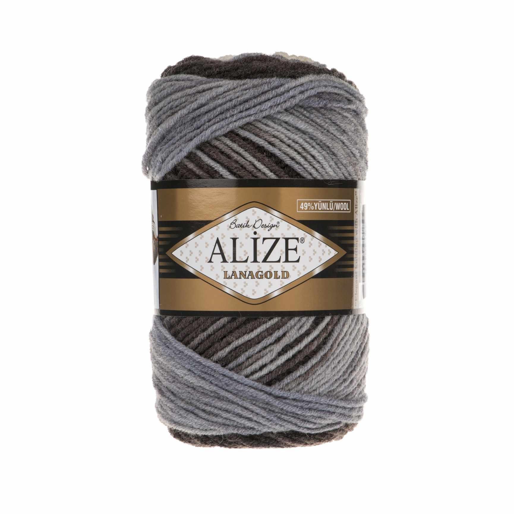 Пряжа Alize Lana Gold Batik Цвет.1601 Белый,серый,голубой,черный