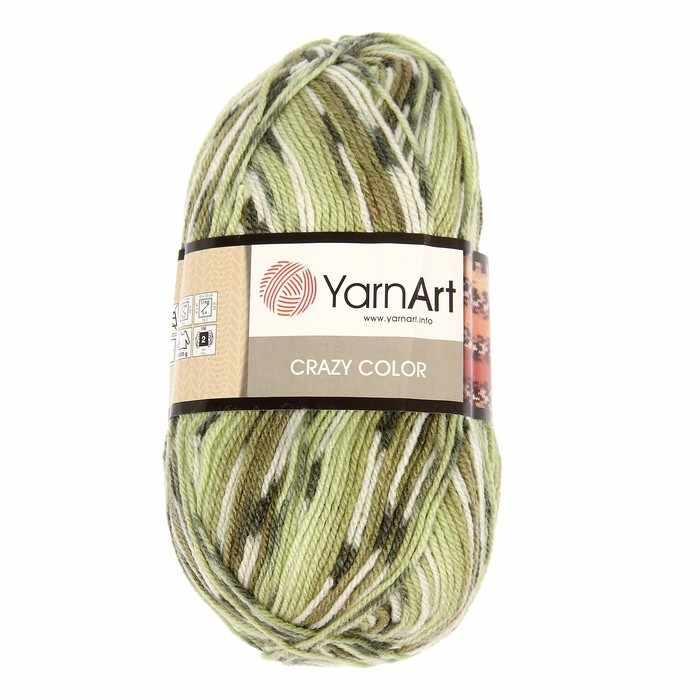 Пряжа YarnArt Crazy Color Цвет.115 Зелёный меланж