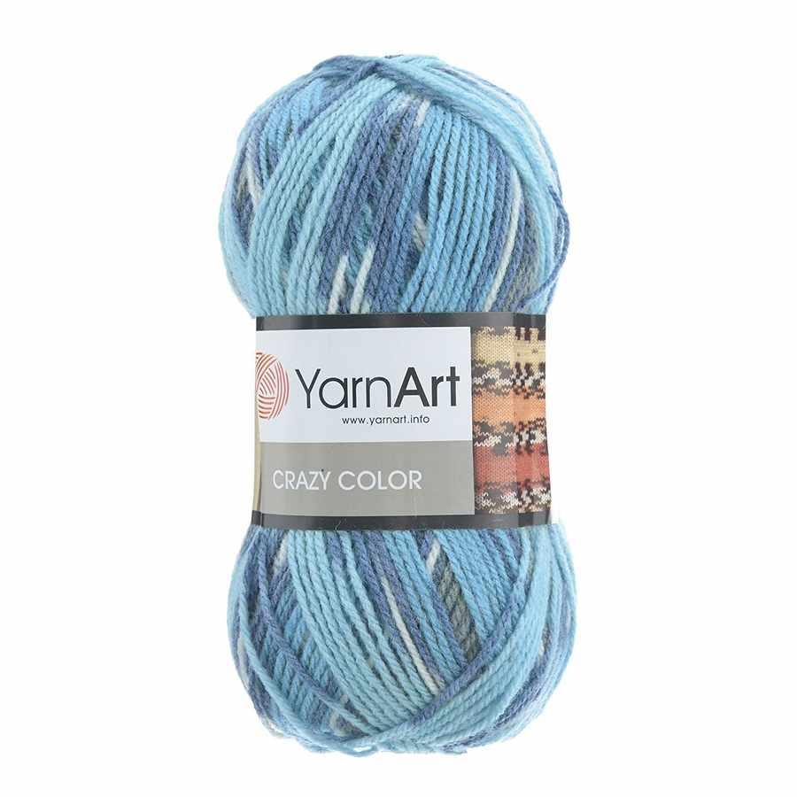Пряжа YarnArt Crazy Color Цвет.134 Ярко-синий меланж