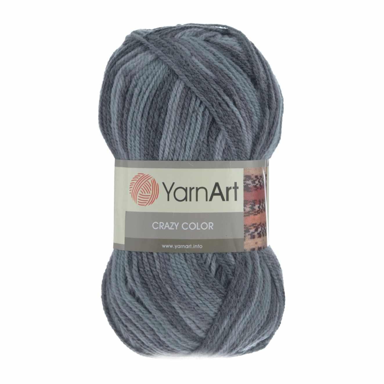 Пряжа YarnArt Crazy Color Цвет.652 Сине-серый меланж
