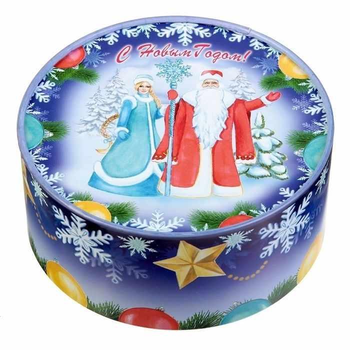 """2751140 Коробка круглая """"Дед мороз и снегурочка"""""""