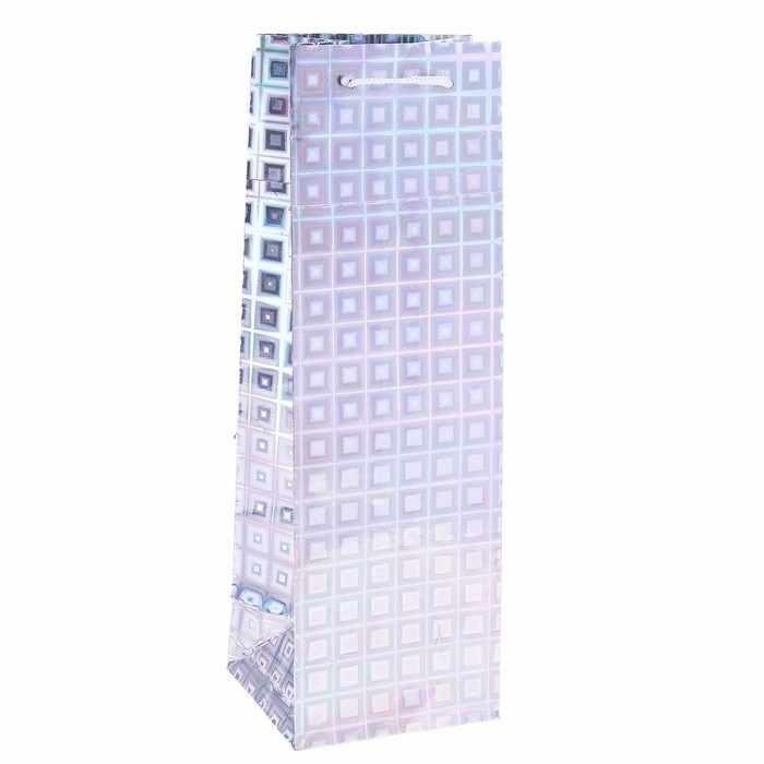 819956 Пакет голографический для бутылки, цвет серебряный