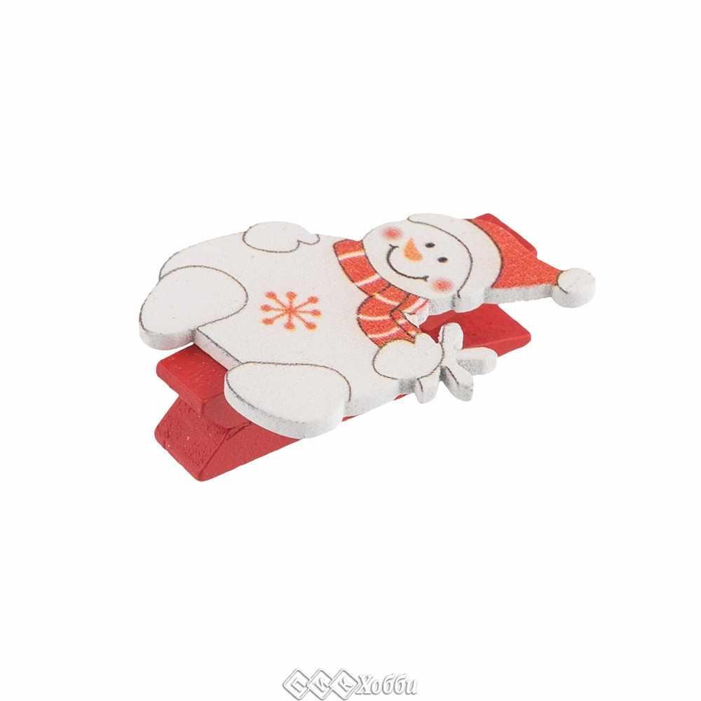 WCLC-35 Декоративные прищепки, C15 Снеговик в шарфе